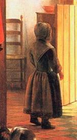 Питер де Хох, У колыбели: женщина шнурует корсет, фрагмент «Девочка у входа»