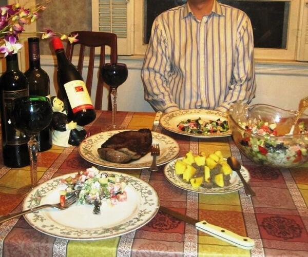 Venison Dinner. Steak and pate.