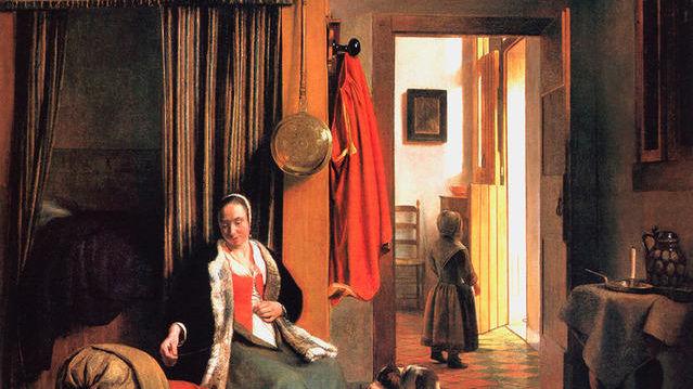 У колыбели: женщина шнурует корсет, 1659,  92 x 100 cm,