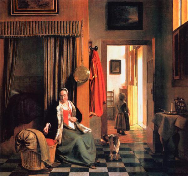 Питер де Хох, «У колыбели: женщина шнурует корсет». Чем озабочена мамаша?