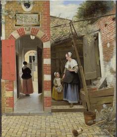 Питер де Хох, Дворик дома в Дельфте, 1658, 73.5 x 60 см, Национальная галерея, Лондон, Англия