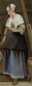 Питер де Хох, Дворик дома в Дельфте, фрагмент «Платье женщины»
