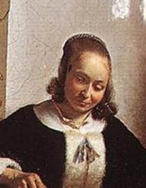 Питер де Хох, Женщина чистит яблоки, фрагмент «Прическа»