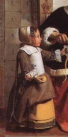 Питер де Хох, Женщина чистит яблоки, фрагмент «Одежда девочки»