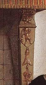 Питер де Хох, Женщина чистит яблоки, фрагмент «Пилястра камина»