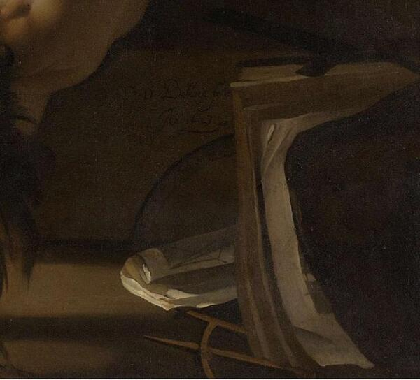 Дирк ван Бабю́рен, Вулкан приковывает Прометея к скале, фрагмент «Книга, циркуль, чертеж»