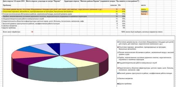 Результаты опроса жителей Перово о проблемах района