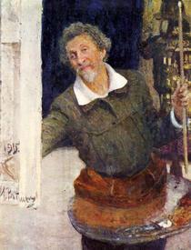 Автопортрет за работой (художник И.Е. Репин)