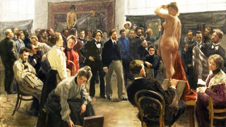 Постановка модели в мастерской И. Е. Репина в Академии художеств