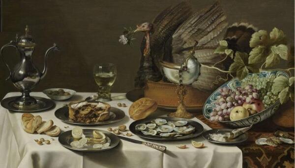 Питер Клас, Пирог с индюком, 1627, 75х132 см, Rijksmuseum, Амстердам, Нидерланды