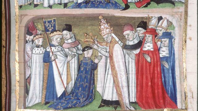 Карл Великий коронует своего сына Людовика Благочестивого