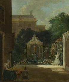 Корнелис Трост, Домик с садиком на амстердамском канале, 1745, 66х56 см, Rijksmuseum, Амстердам, Нидерланды