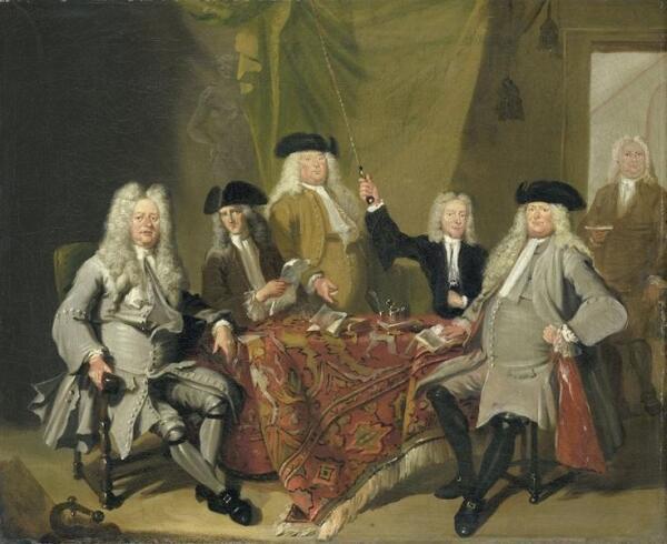 Корнелис Трост, Инспекторы медицинской коллегии в Амстердаме, 1724, 245х315 см, Rijksmuseum, Амстердам, Нидерланды