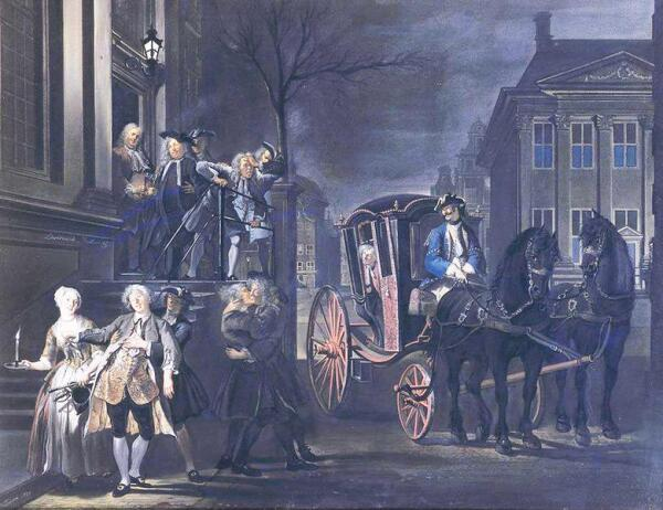Корнелис Трост, «Кто может – дойдет, падающего – поддержим» ( Ibant qui poterant, qui non potuere cadebant'), 1739,   56 × 72 см, Королевская галерея Маурицхёйс, Гаага, Нидерланды