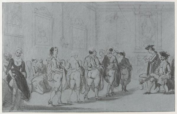 Корнелис Трост, Принц Евгений Савойский проводит смотр проституток мадам Терезе, 1720