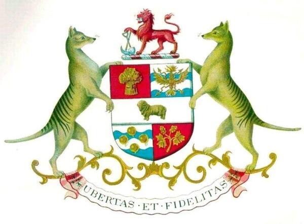 Тилацины на гербе Тасмании