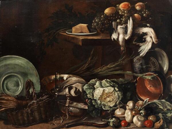 Джузеппе Рекко, Натюрморт с овощами, мелкой корзиной,  дичью и виноградом, 193х131 см, частная коллекция