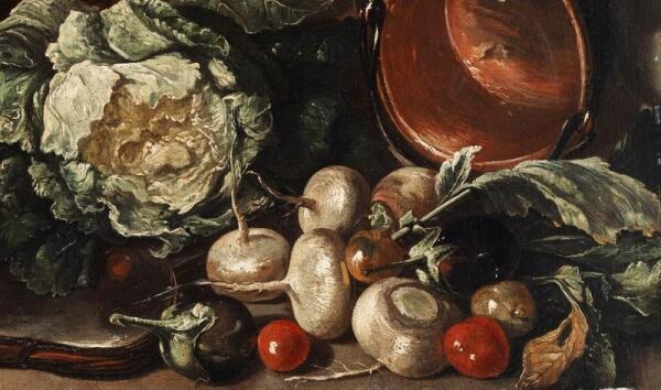 Джузеппе Рекко, Натюрморт с овощами на оловянной тарелке, дичью и виноградом, фрагмент «Овощи»