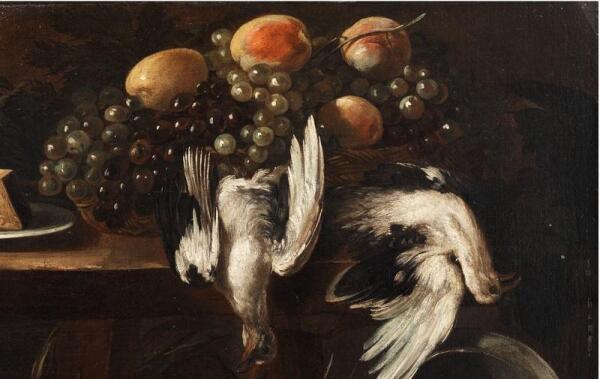 Джузеппе Рекко, Натюрморт с овощами, мелкой корзиной, дичью и виноградом, фрагмент «Дичь и виноград»