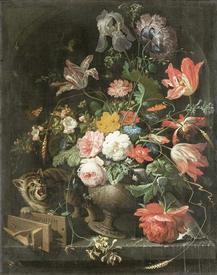 Абрахам Мигнон, Натюрморт с кошкой, 1660-1679, 89х72, Rijksmuseum, Амстердам, Нидерланды
