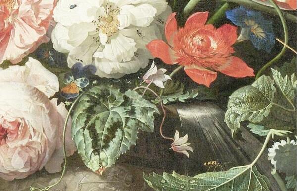 Абрахам Мигнон, Натюрморт с кошкой, фрагмент «Жук-солдатик и муравьи»
