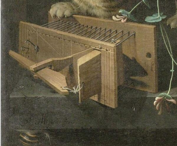 Абрахам Мигнон, Натюрморт с кошкой, фрагмент «Кот у мышеловки»