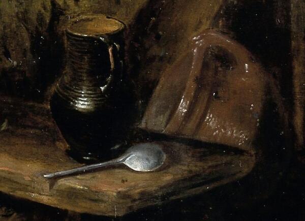 Hendrik Potuyl, Домохозяйка чистит рыбу во дворе, фрагмент «Жбан и оловянная ложка»
