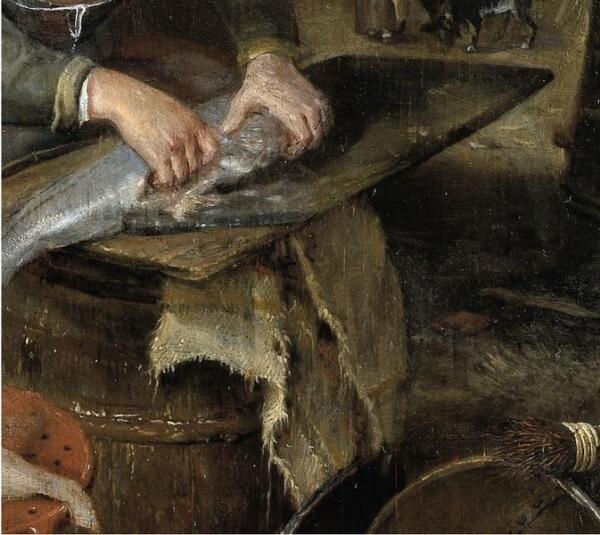 Hendrik Potuyl, Домохозяйка чистит рыбу во дворе, фрагмент «Разделочная доска»