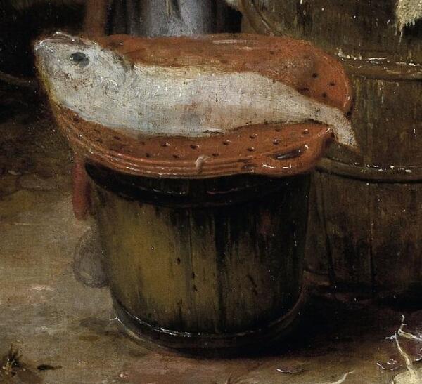 Hendrik Potuyl, Домохозяйка чистит рыбу во дворе, фрагмент «Глиняная решетка и бочка»