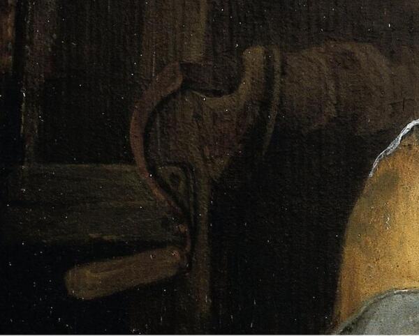 Hendrik Potuyl, Домохозяйка чистит рыбу во дворе, фрагмент «Рукоять ворота и вал колодца с веревкой»