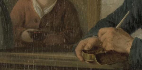 Адриан де Лели, Утренний визит, фрагмент «Жестяная табакерка и горшочек с углями»