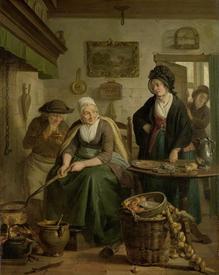 Адриан де Лели, Женщина, пекущая блины, 1810, 52×42 см, Rijksmuseum, Амстердам, Нидерланды