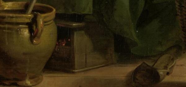 Адриан де Лели, Женщина, пекущая блины, фрагмент «Обогреватель для ног»