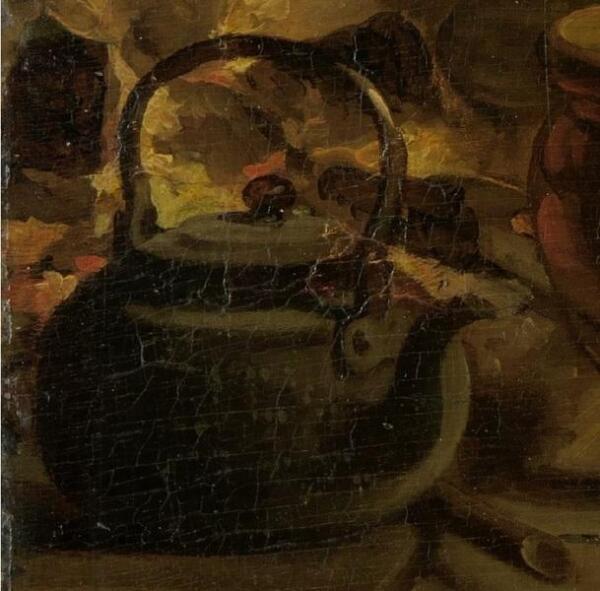 Адриан де Лели, Женщина, пекущая блины, фрагмент «Чайник»