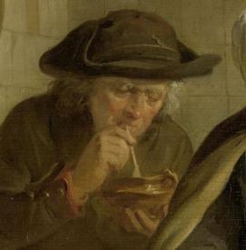 Адриан де Лели, Женщина, пекущая блины, фрагмент «Курильщик раскуривает трубку»