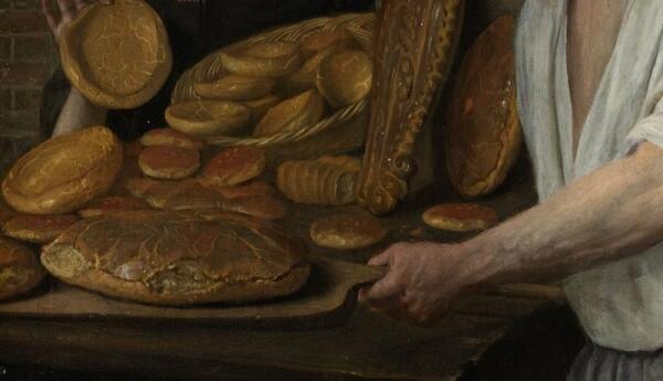 Ян Стен, Пекарь Арент Оставаарт и его жена Катарина Кайзерсваарт, фрагмент «Лопата»