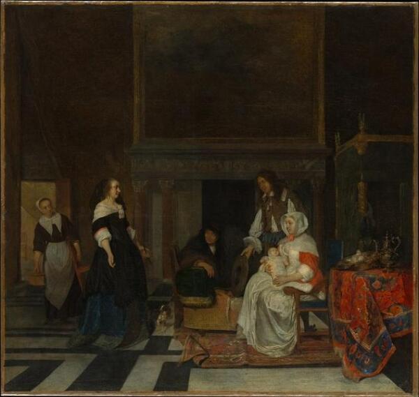 Габриэль Метсю, Визит к роженице, 77х81 см 1661 Метрополитен музей, США