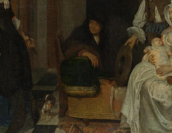 Габриэль Метсю, Визит к роженице, фрагмент «Колыбель»