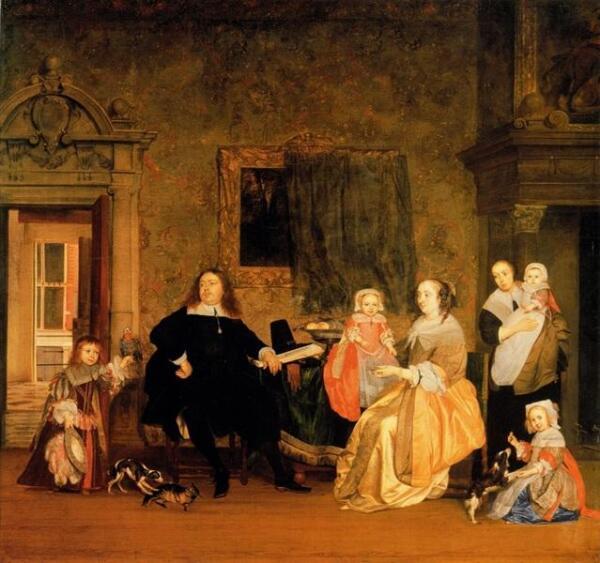 Габриэль Метсю, Семья Хинлопена, 72х79 см, 1662, Картинная галерея, Берлин, Германия