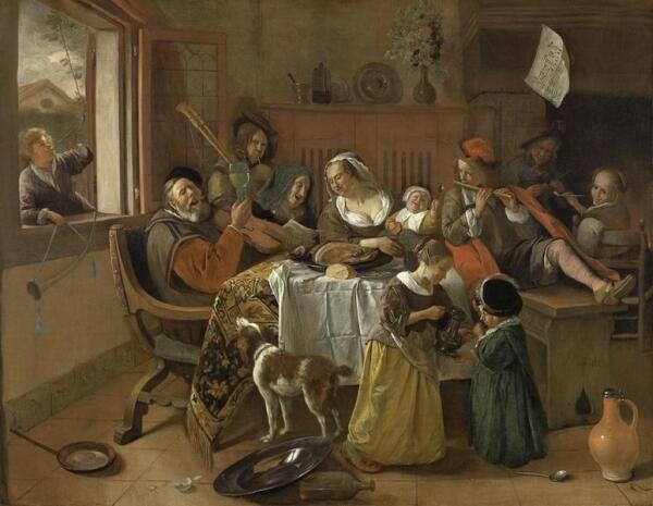 Ян Стен, Веселая семейка, 1668, 110x141 см, Rijksmuseum, Амстердам, Нидерланды