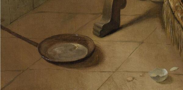 Ян Стен, Веселая семейка, фрагмент «Сковорода и яичная скорлупа»