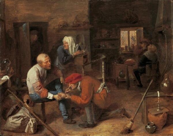 Адриан Браувер, Деревенская цирюльня, 31×40 см, 1631, Старая пинакотека Мюнхен, Германия
