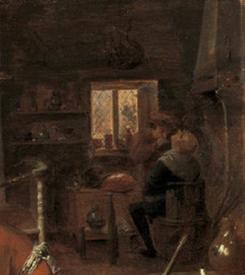 Адриан Браувер, Деревенская цирюльня, фрагмент «Бритье»