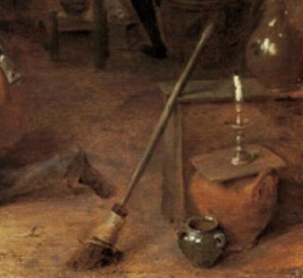 Адриан Браувер, Деревенская цирюльня, фрагмент «Метла»
