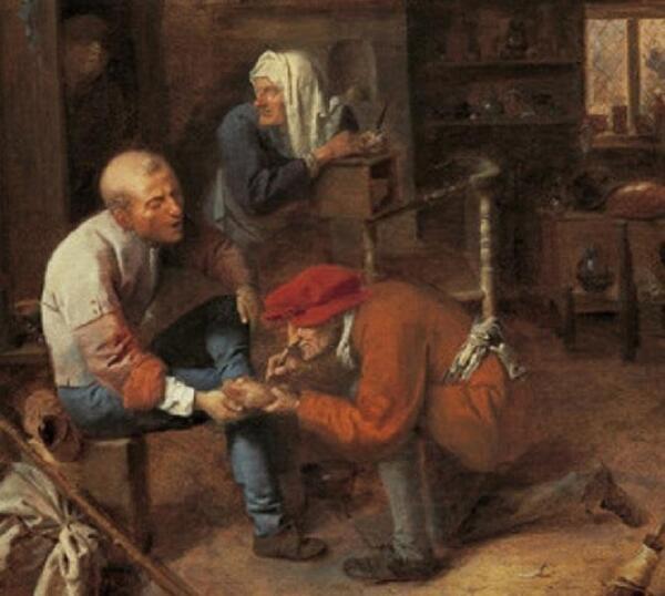 Адриан Браувер, Деревенская цирюльня, фрагмент «Обработка ноги»