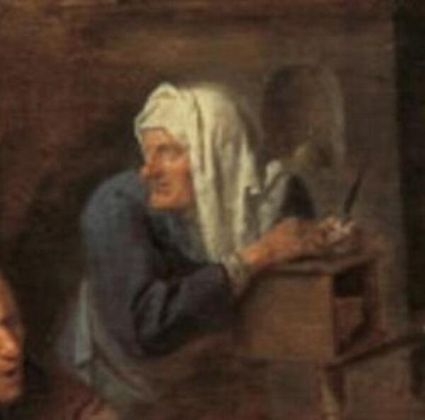 Адриан Браувер, Деревенская цирюльня, фрагмент «Регистратура»