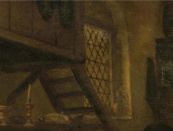 Ян Стен, День принца, фрагмент «Солнечный свет на оконном проеме и лестница на антресоль»