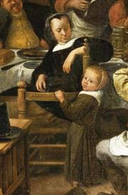 Ян Стен, День принца, фрагмент «Девочка со стулом»