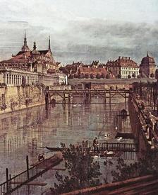 «Вид Дрездена, старый крепостной ров в Цвингере, вид из оранжереи по направлению к городу»,  фрагмент