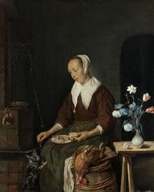 Габриэль Метсю, Женщина за едой, известная как «Кошачий завтрак», 1661, 33х27 см, Государственный музей, Амстердам, Нидерланды